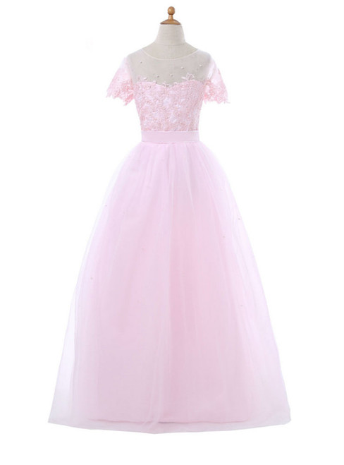 A-line Tulle Appliques Pink 2017 Flower Girl Dresses For Weddings