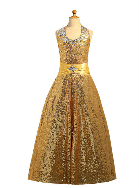 Halter Sequins Gold 2017 Girls Pageant Dresses For Weddings Ball Gown