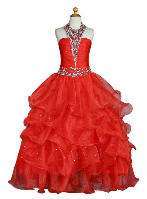 Red 2017 Girls Pageant Dresses For Weddings Ball Gown Halter