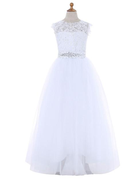 A-line Cap Sleeves White 2017 Flower Girl Dresses For Weddings