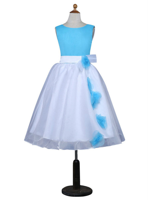 A-line Scoop Tulle Flowers Blue 2017 Flower Girl Dresses For Weddings