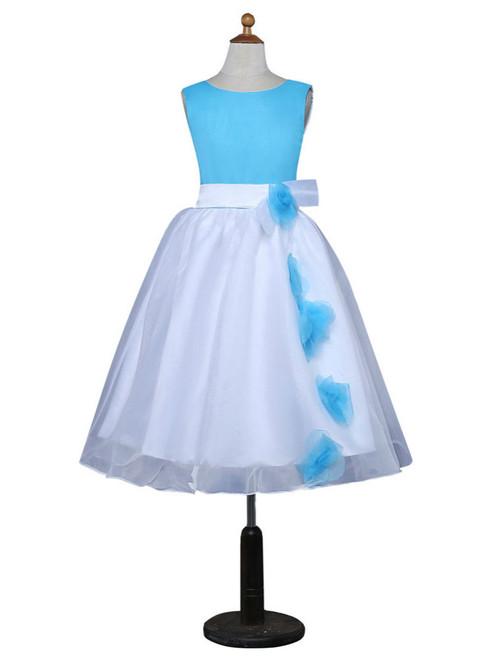 A-line Scoop Tulle Flowers Blue 2017 Flower Girl Dresses For Weddings
