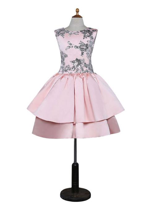 Pink 2017 Flower Girl Dresses For Weddings Ball Gown Cap Sleeves