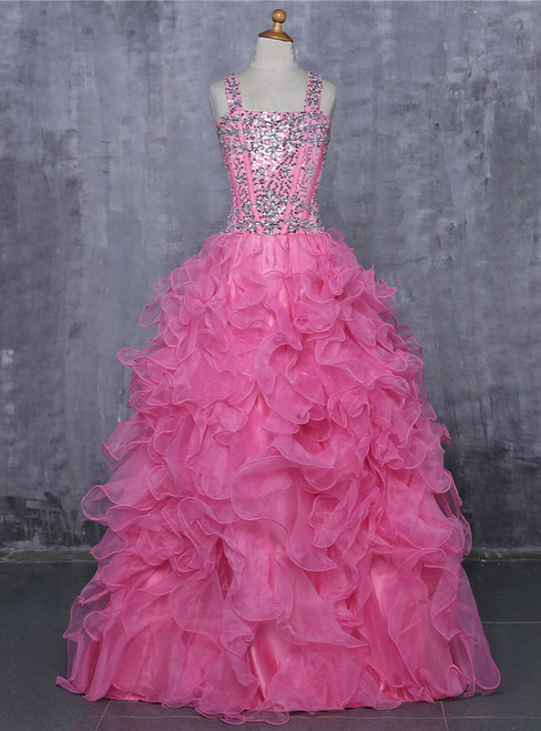 2017 Girls Pageant Dresses For Weddings Ball Gown Tank Crystals Sequins