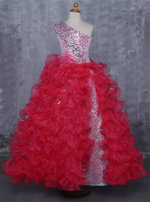 Red 2017 Girls Pageant Dresses For Weddings Ball Gown One-shoulder