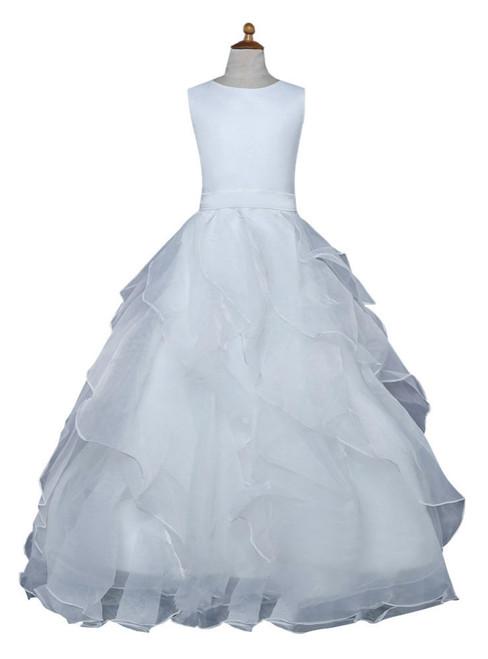 White 2017 Flower Girl Dresses For Weddings Ball Gown Floor Length