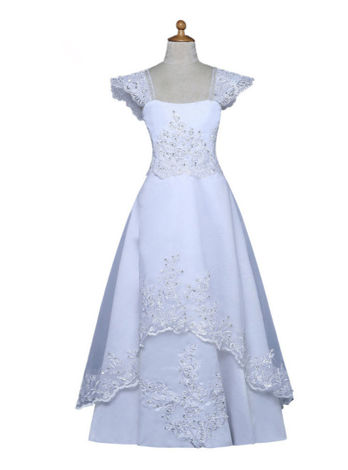 White 2017 Flower Girl Dresses For Weddings A-line Cap Sleeves Lace