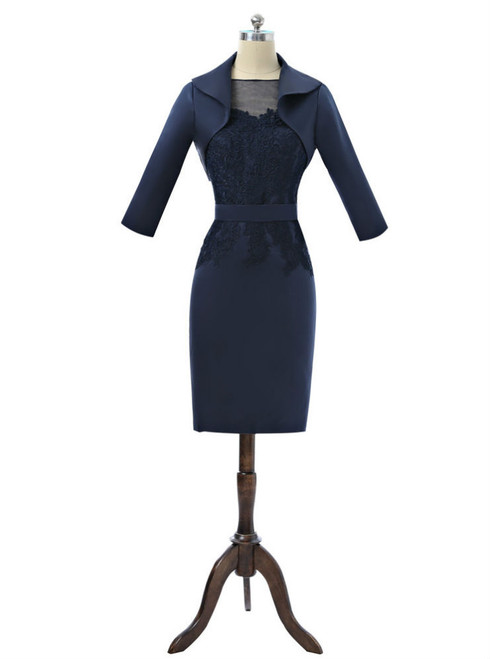Navy Blue 2017 Mother Of The Bride Dresses Sheath Knee Length With Jacket