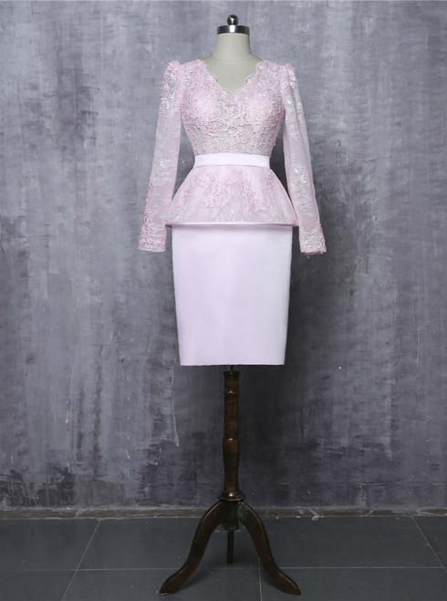 Pink 2017 Mother Of The Bride Dresses Sheath V-neck Long Sleeves