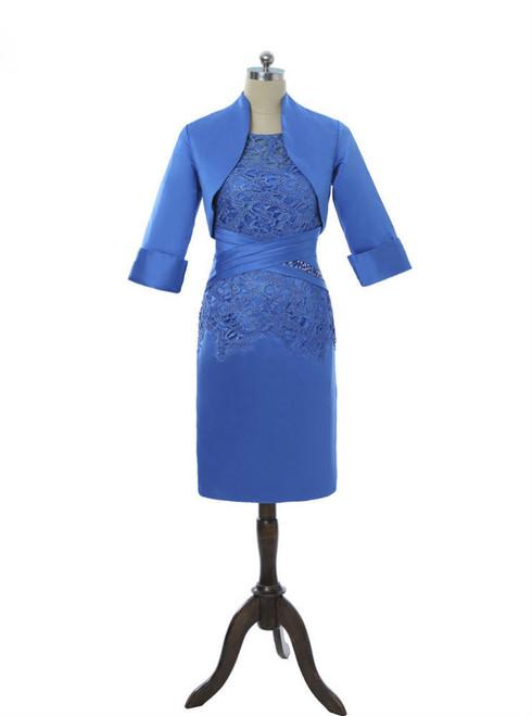 Royal Blue 2017 Mother Of The Bride Dresses Sheath Knee Length