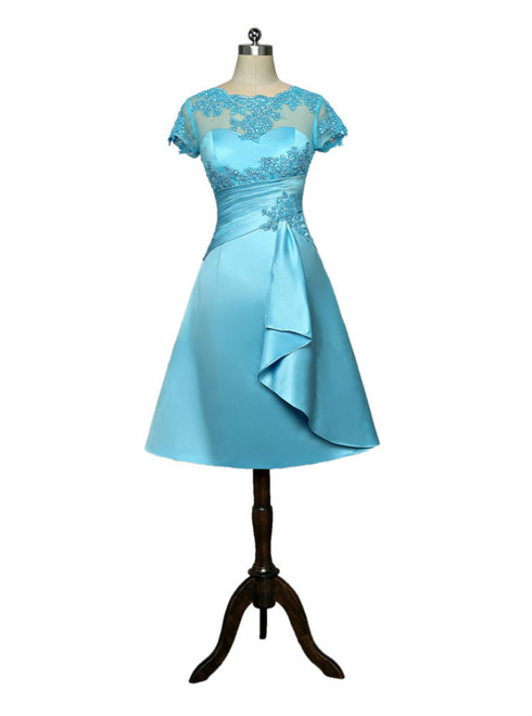 Blue 2017 Mother Of The Bride Dresses A-line Cap Sleeves Appliques