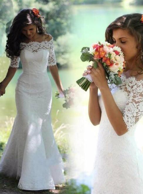 White Mermaid Lace Off The Shoulder Handmade Wedding Dress