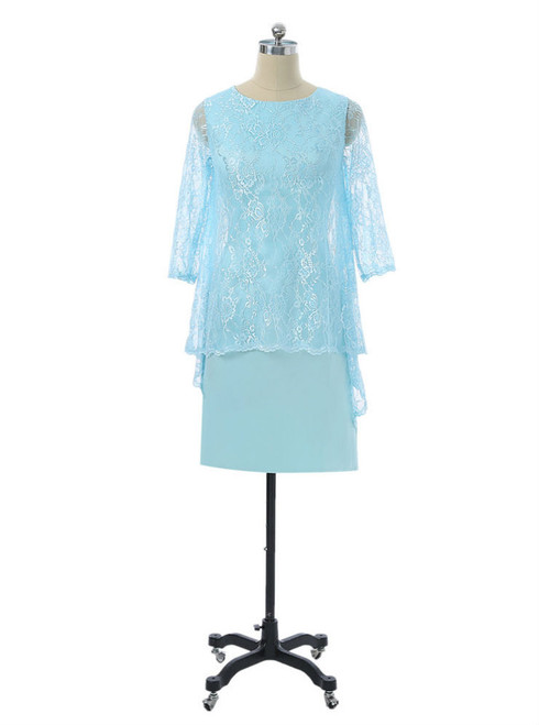 Sheath Knee Length With Jacket Chiffon Lace Groom Short Mother Dresses For Wedding