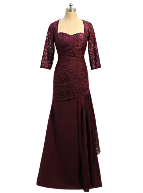 Purple 2017 Mother Of The Bride Dresses Mermaid 3/4 Sleeves Chiffon Lace
