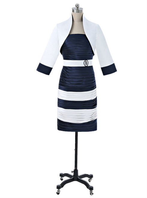 Navy Blue 2017 Mother Of The Bride Dresses Sheath Knee Length With Jacket  For Wedding