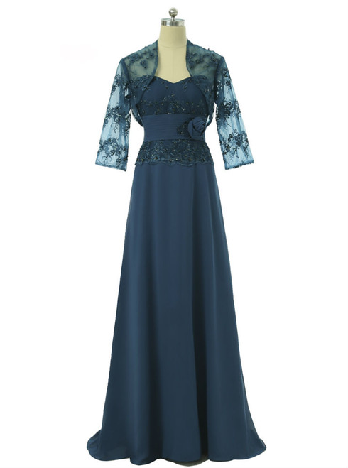 Navy Blue 2017 Mother Of The Bride Dresses A-line Chiffon Lace With Jacket