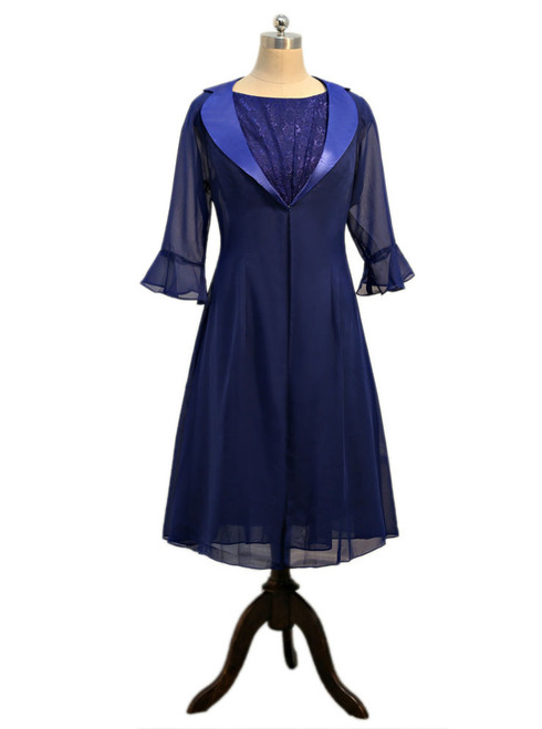 Dark Blue 2017 Mother Of The Bride Dresses A-line Chiffon Lace