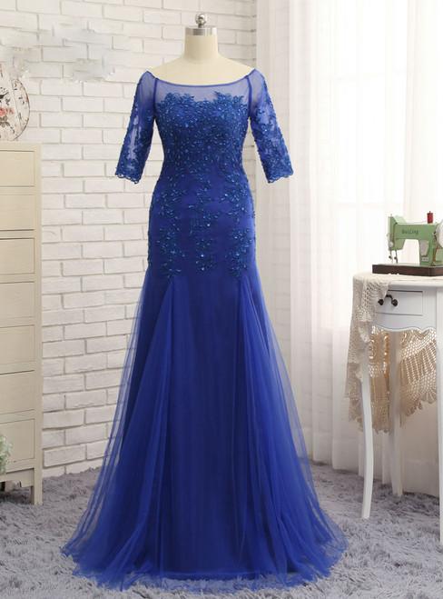 Royal Blue 2017 Mother Of The Bride Dresses Mermaid Half Sleeves