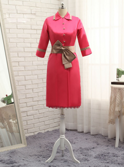 2017 Sheath Mother Of The Bride Dresses Knee Length Satin Lace Red With Jacket