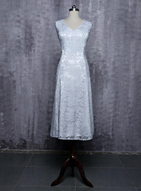 Silver 2017 Mother Of The Bride Dresses A-line V-neck Cap Sleeves