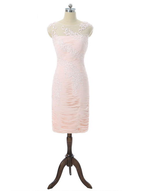Pink 2017 Mother Of The Bride Dresses Sheath Cap Sleeves Knee Length