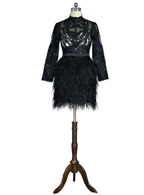 Black 2017 Formal Celebrity Dresses Sheath Long Sleeves