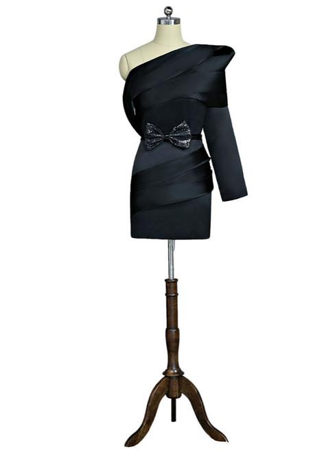 Black 2017 Formal Celebrity Dresses Sheath One-shoulder Long Sleeves