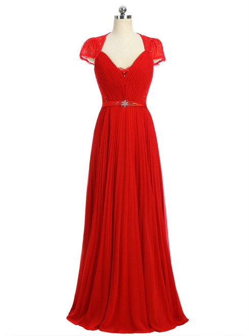 Red 2017 Formal Celebrity Dresses A-line Cap Sleeves V-neck Floor Length
