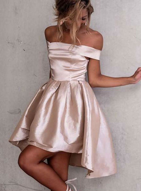 High Low Off-the-Shoulder Light Champagne Satin Prom Homecoming Dress