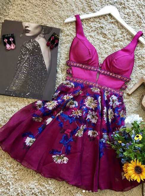 V Neck Floral Homecoming Dresses Ball Gown Fuchsia
