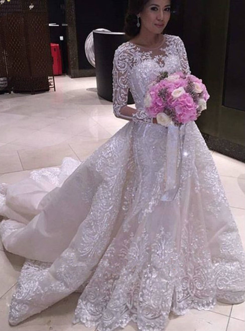 Luxury Long Sleeve White Beading Mermaid Train Wedding Dress