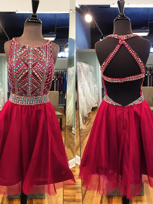 Short Prom Dress Scoop Homecoming Dresses A-line Homecoming Dress