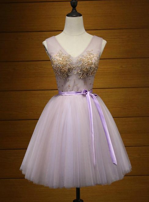 V-Neck Short/Mini Homecoming Dresses A-line Homecoming Dress
