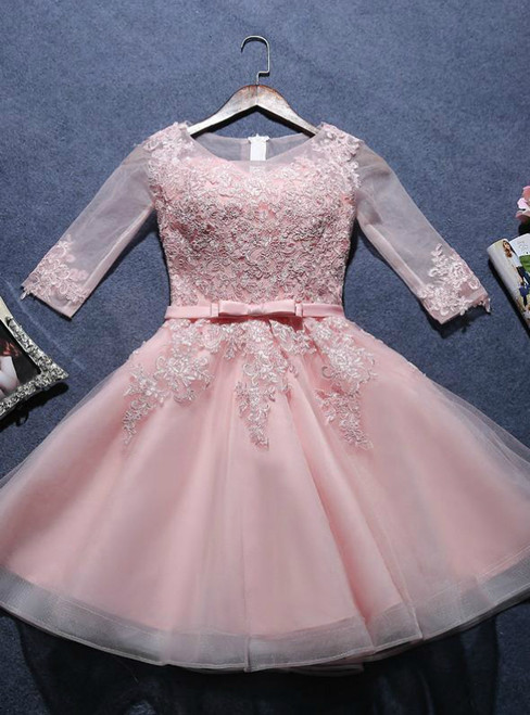 A-line Scoop pink half sleeve Short Juniors Homecoming Dresses