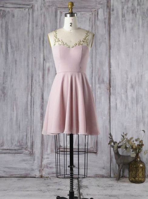 2017 Prom Gowns Dress A-line Scoop Short Bridesmaid Dresses