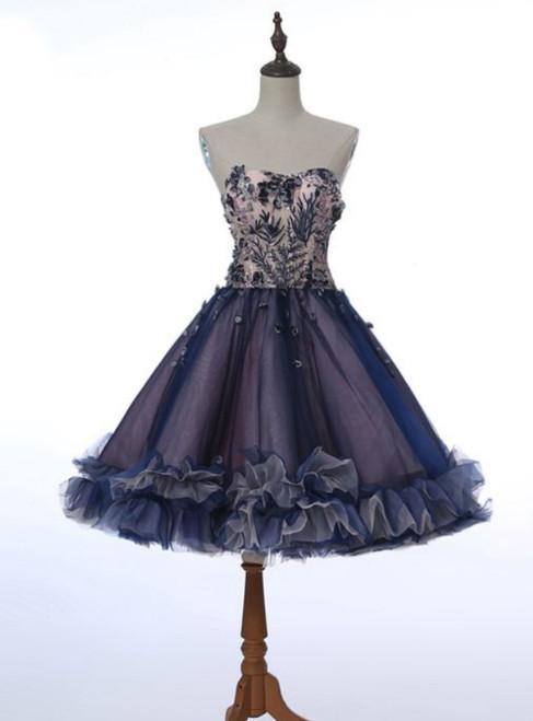 Sweet Heart Homecoming Dress Applique Junior School  Dress Graduation Dress Sleeveless