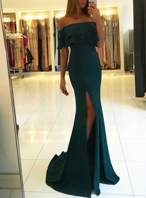 2018 Off Shoulder Formal Gowns Long Chiffon Slit Mermaid Evening Dresses