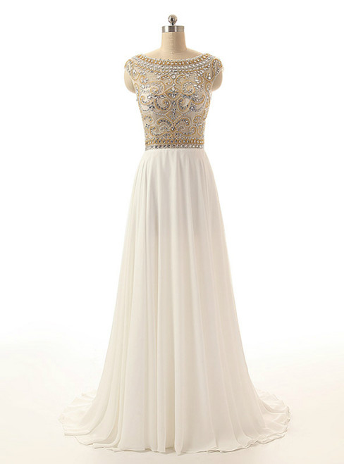 Cheap Ivory Crystals Prom Dresses Long Chiffon Beaded Party Dress