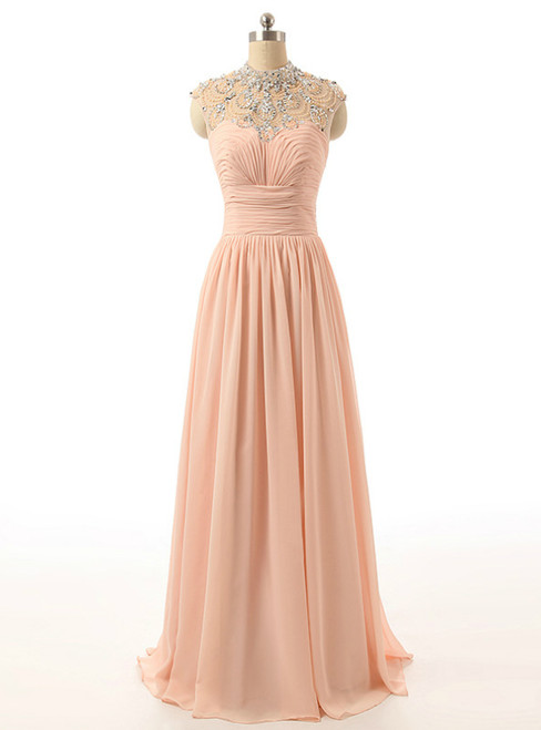Long High Neck Tulle Beaded Party Dress Peach Crystals Chiffon Prom Dresses