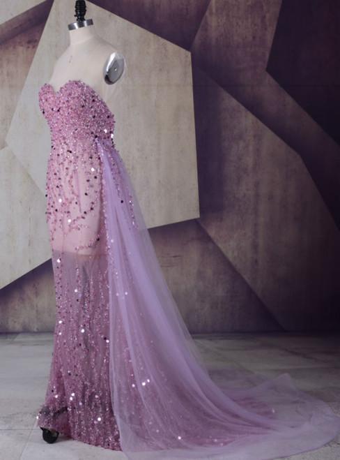 Strapless Prom Dress Light Purple Long Beaded Sequins