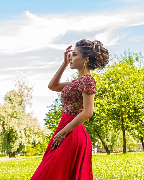 A-line Long Chiffon Red Evening Prom Dress Beaded Crystal Pearls Short Sleeves