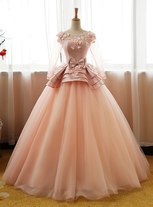 Long Prom Dress Party Gown 3D Floral Flower Long Sleeves Puffy Tulle