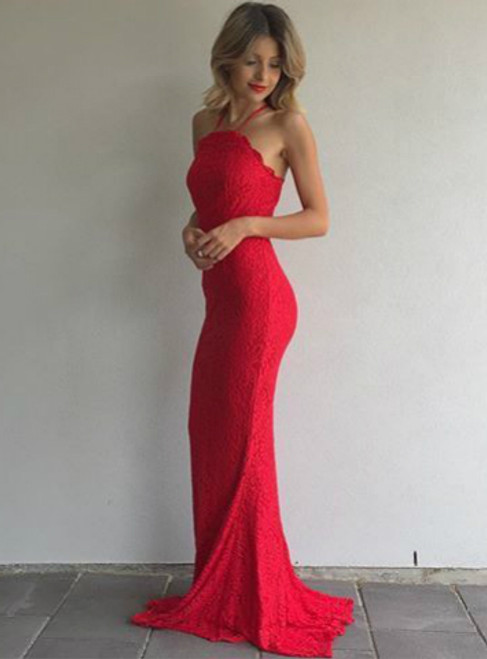 Elegant Red Lace Prom Dress Sleeveless Mermaid Evening Dress