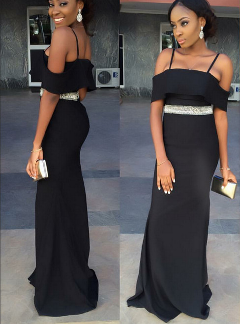 Long Cold-Shoulder Bridesmaid Dress with Beaded Waist for African Women