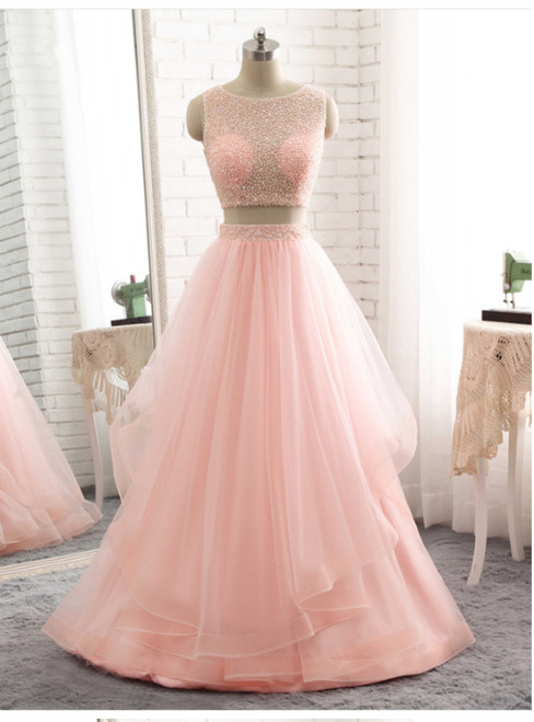 Two Piece Long Prom Dresses Pink Tulle Floor Length Formal Gowns