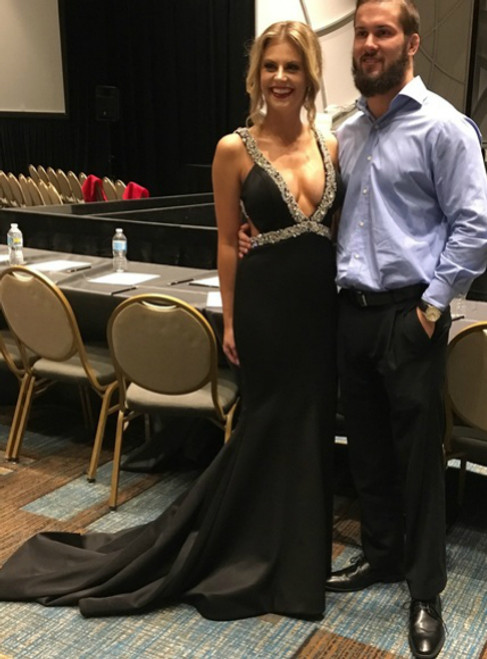 Sexy Deep V Neck Sleeveless Side Slit Beading Crystals prom dresses