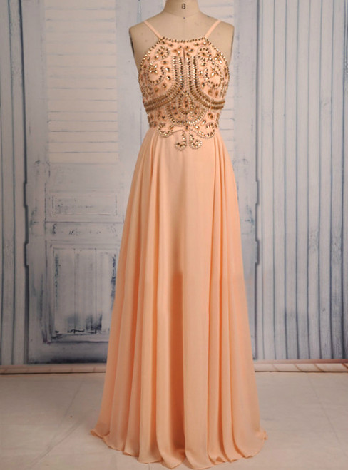 Spaghetti Straps Crystals Long Chiffon Orange Prom Dresses