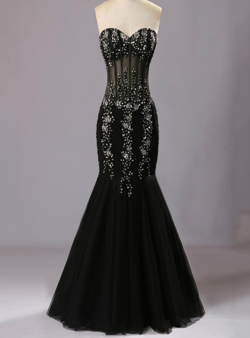 Black Mermaid Prom Dress Sweetheart Evening Dress