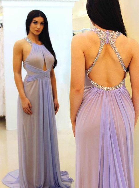 Chiffon Prom Dress Lavender Long Evening Gowns for Women Plus Size