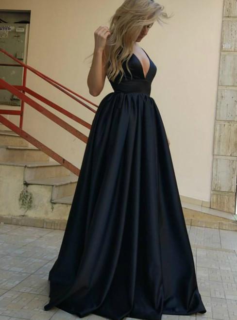Sleeveless Backless Black Prom Dress Black Evening Dress Formal Prom Dresses